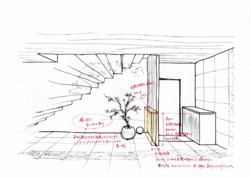小川様邸階段下の代替案